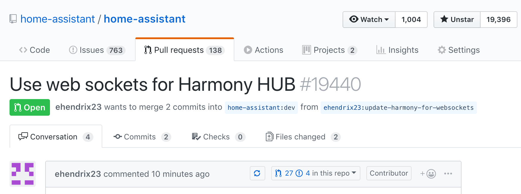 Screenshot of GitHub.com showing a pull request to Home Assistant to update their Logitech Harmony integration to use the local websocket API.