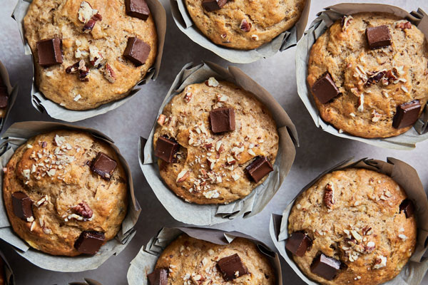 Bakery Style Banana Nut and Chocolate Chunk Muffins