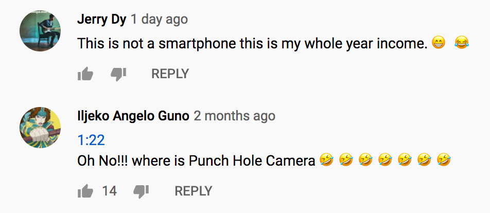 Example of YouTube comments with emojis and extra punctuation.