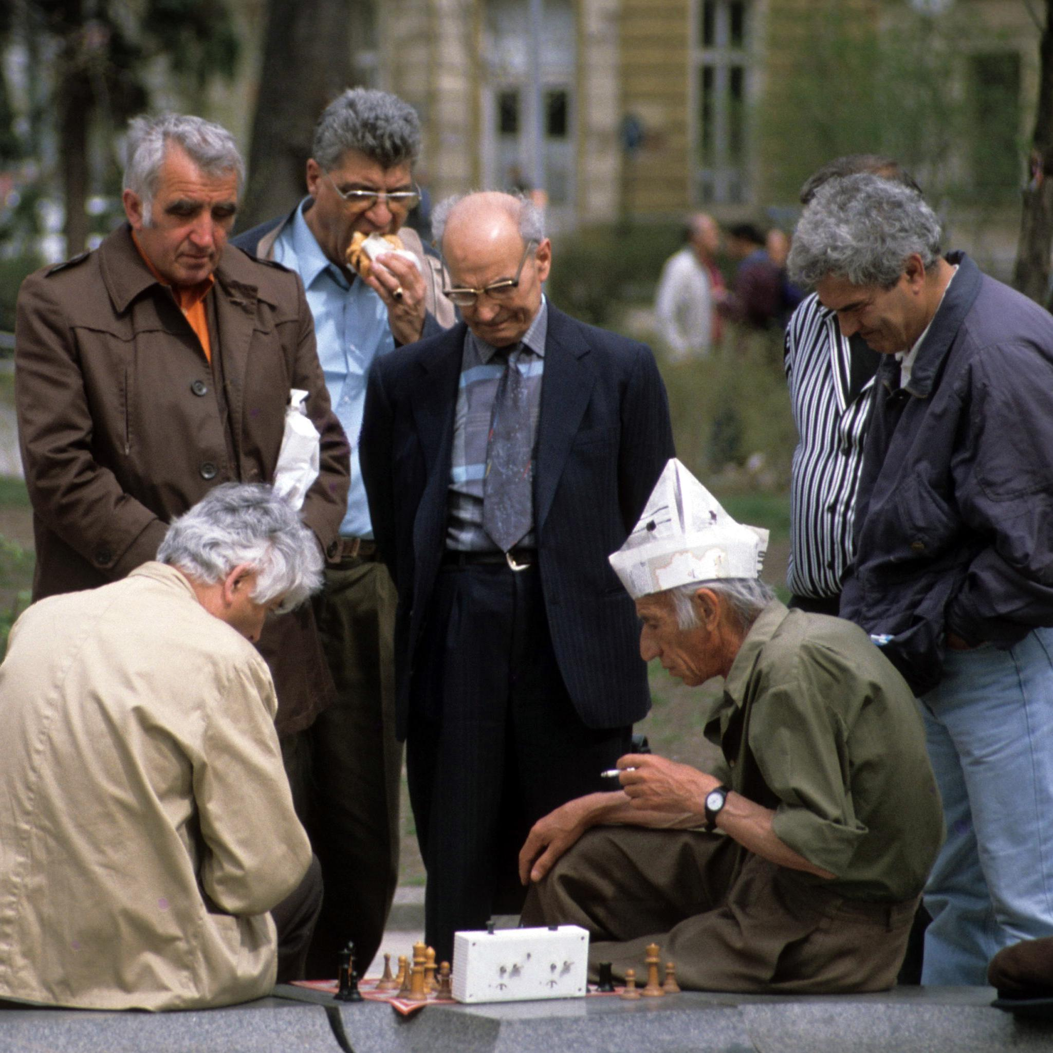 Men Playing Chess on the street in Bulgaria