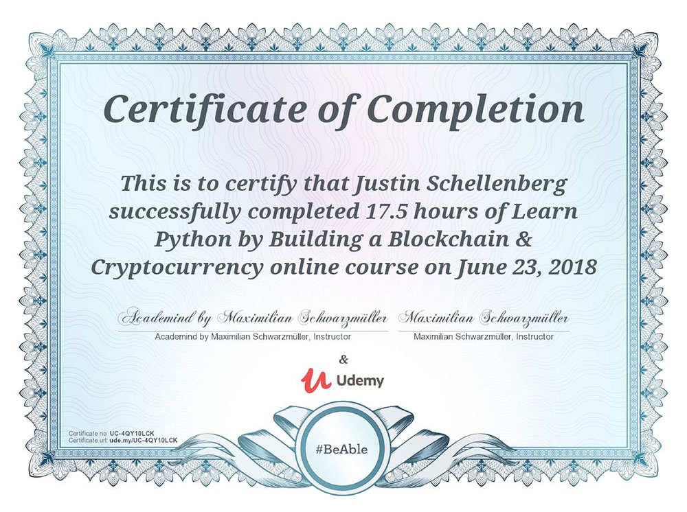 Python Blockchain certification for Justin Schellenberg