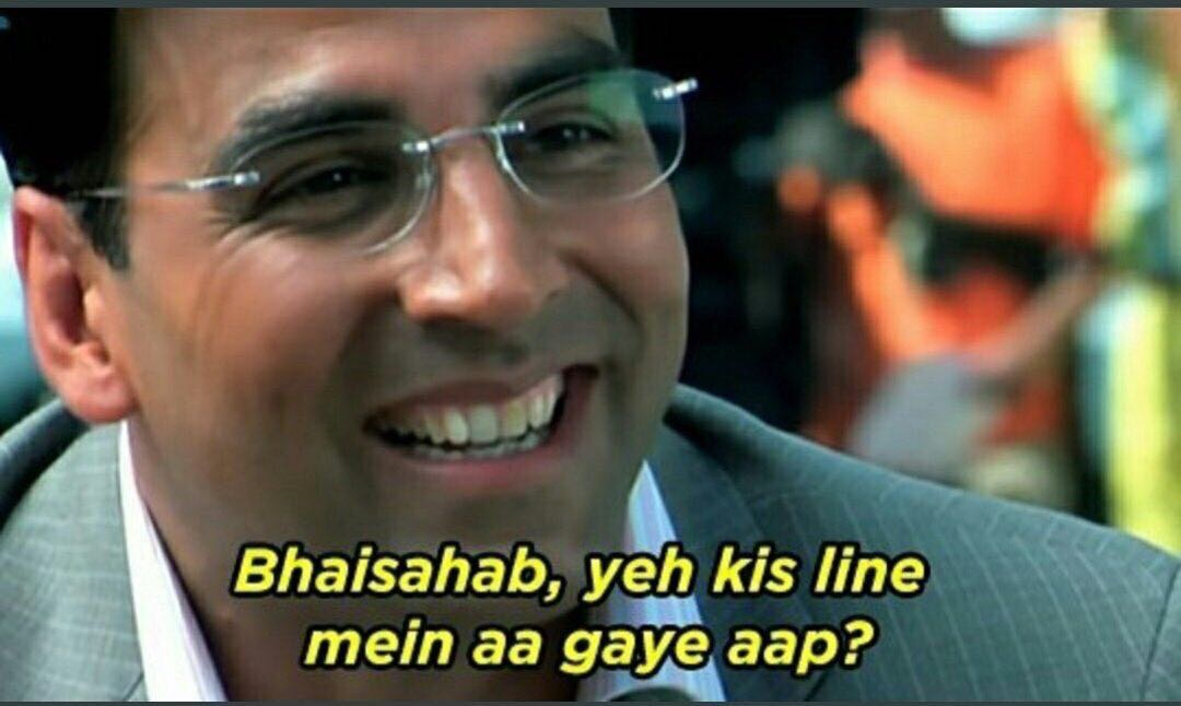 Akshay Kumar in Welcome: Bhaisahab, Yeh Kis Line Mein Aa Gaye Aap