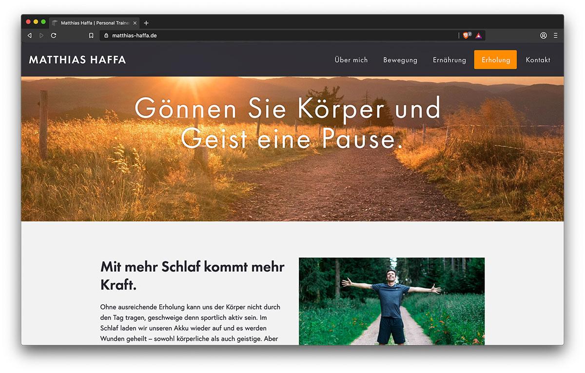 Webseite Matthias Haffa (Erholung) - Webdesign Freiburg KreativBomber