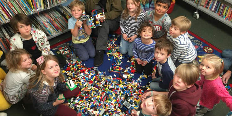 A Lego club in a library