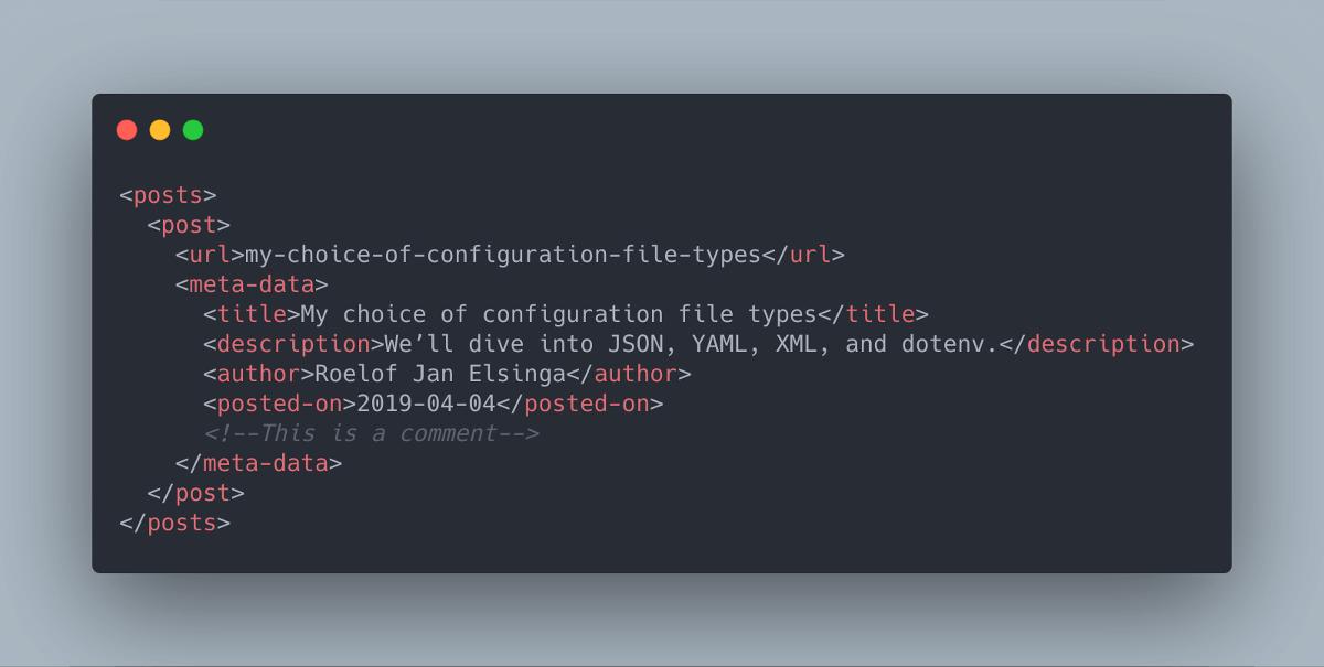 Configuration in XML