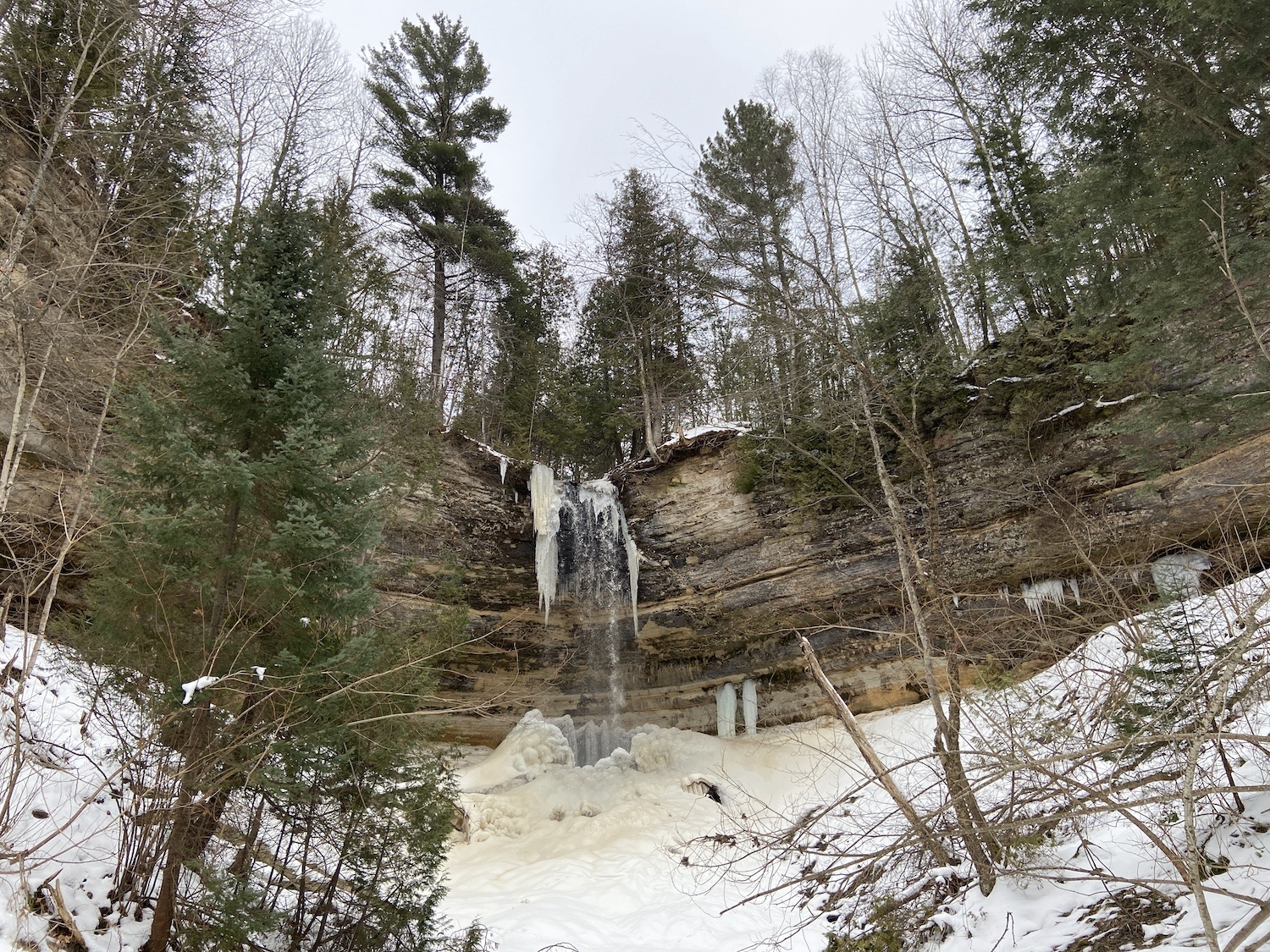 A snowy, icy waterfall in the Upper Peninsula, Michigan