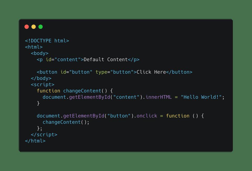 javascript change inner html content