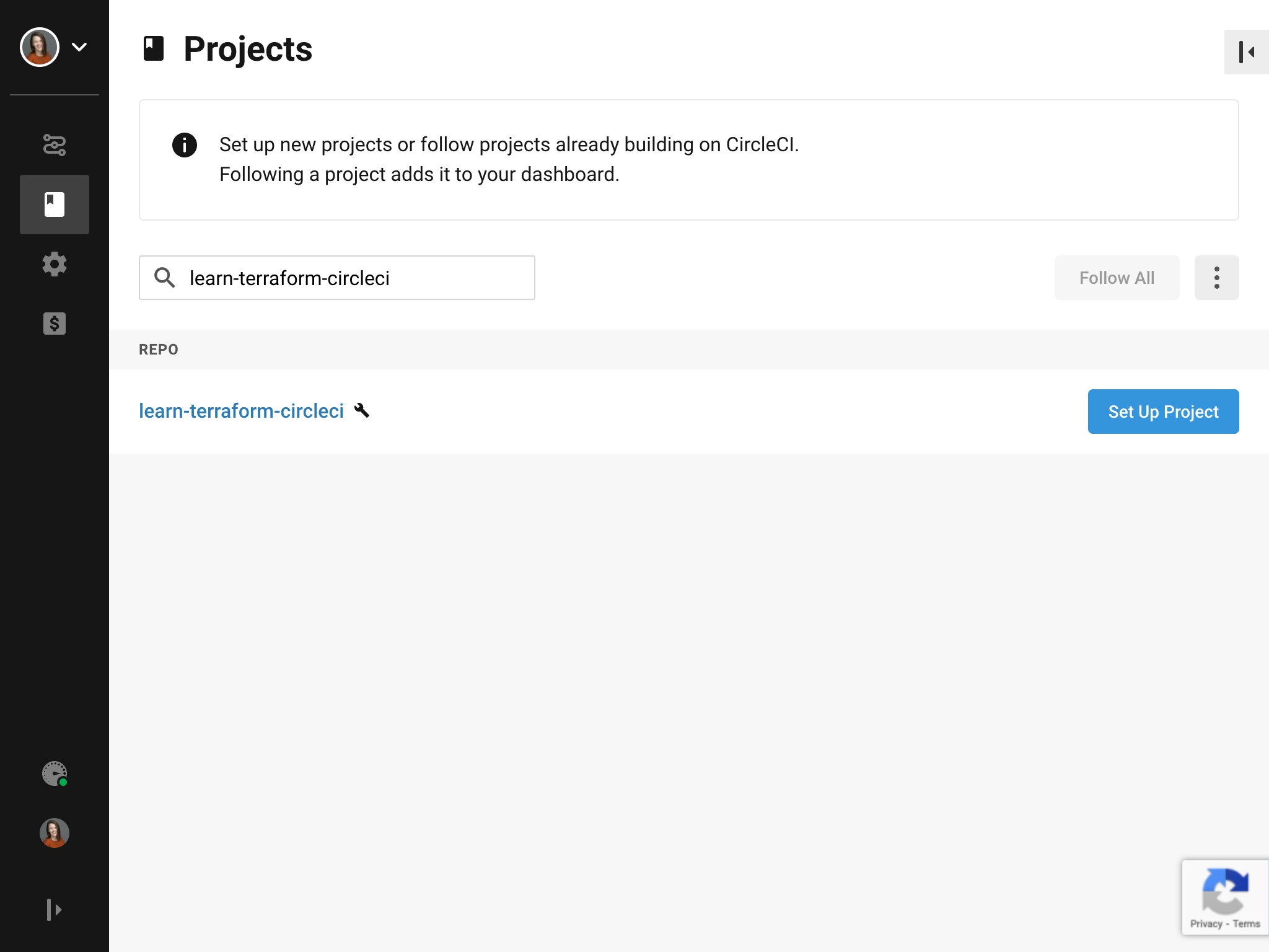 Set up your project in the CircleCI UI