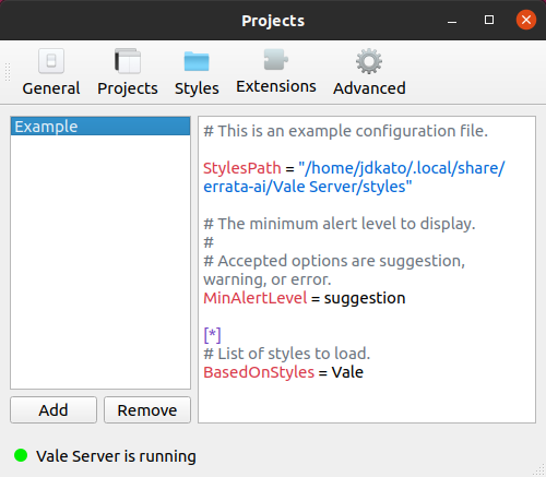 A screenshot of Vale Server's 'Projects' settings page.