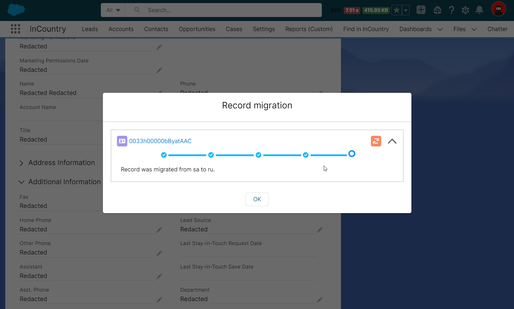 Record migration form - completed