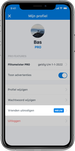 Vriendencode delen in Flitsmeister