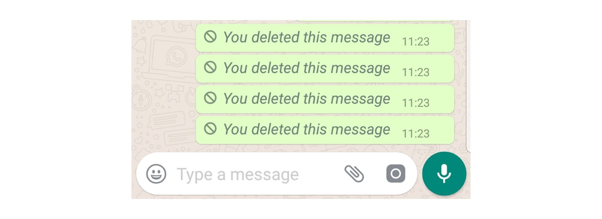 Collection of messages that say 'you deleted this message'