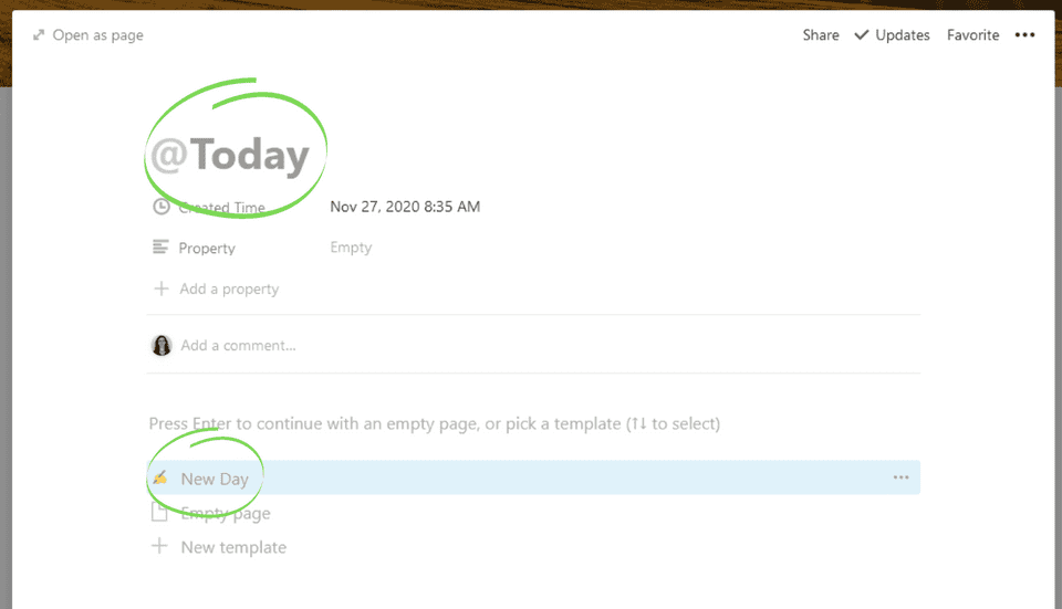 Enter '@Today' for the title then tap 'New 'Day'
