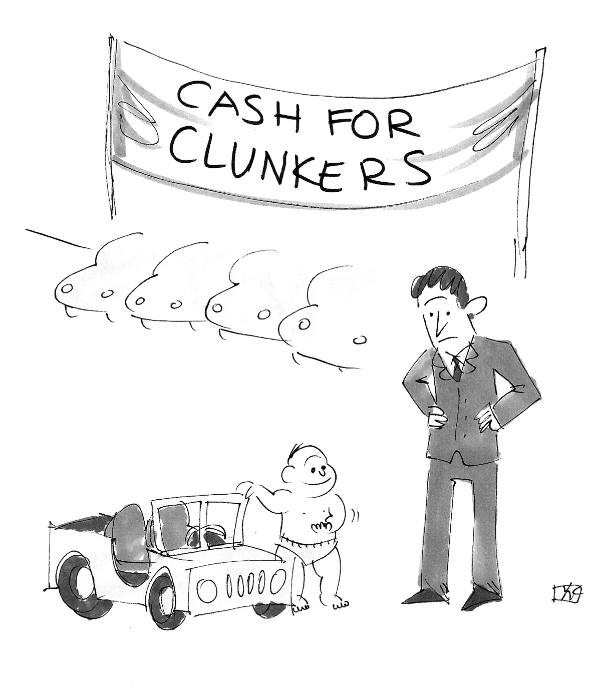 (Baby brings in Jeep toy to car dealership with banner that reads: 'Cash for Clunkers.')