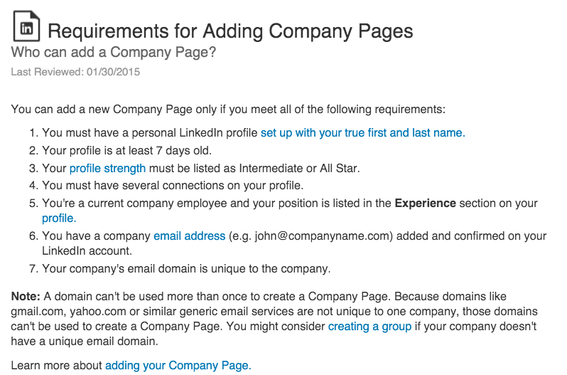 linkedin requirements for company pages