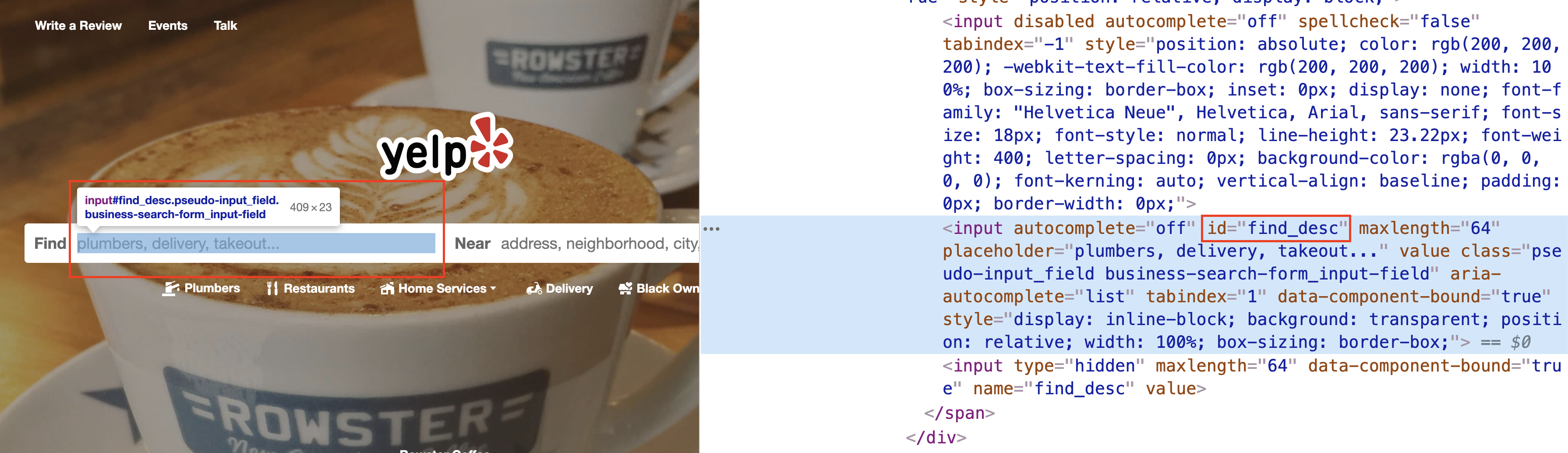 yelp.com page with devtools open