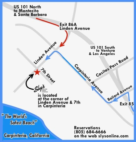 Linden California Map.Directions To Sly S Restaurant Carpinteria Ca