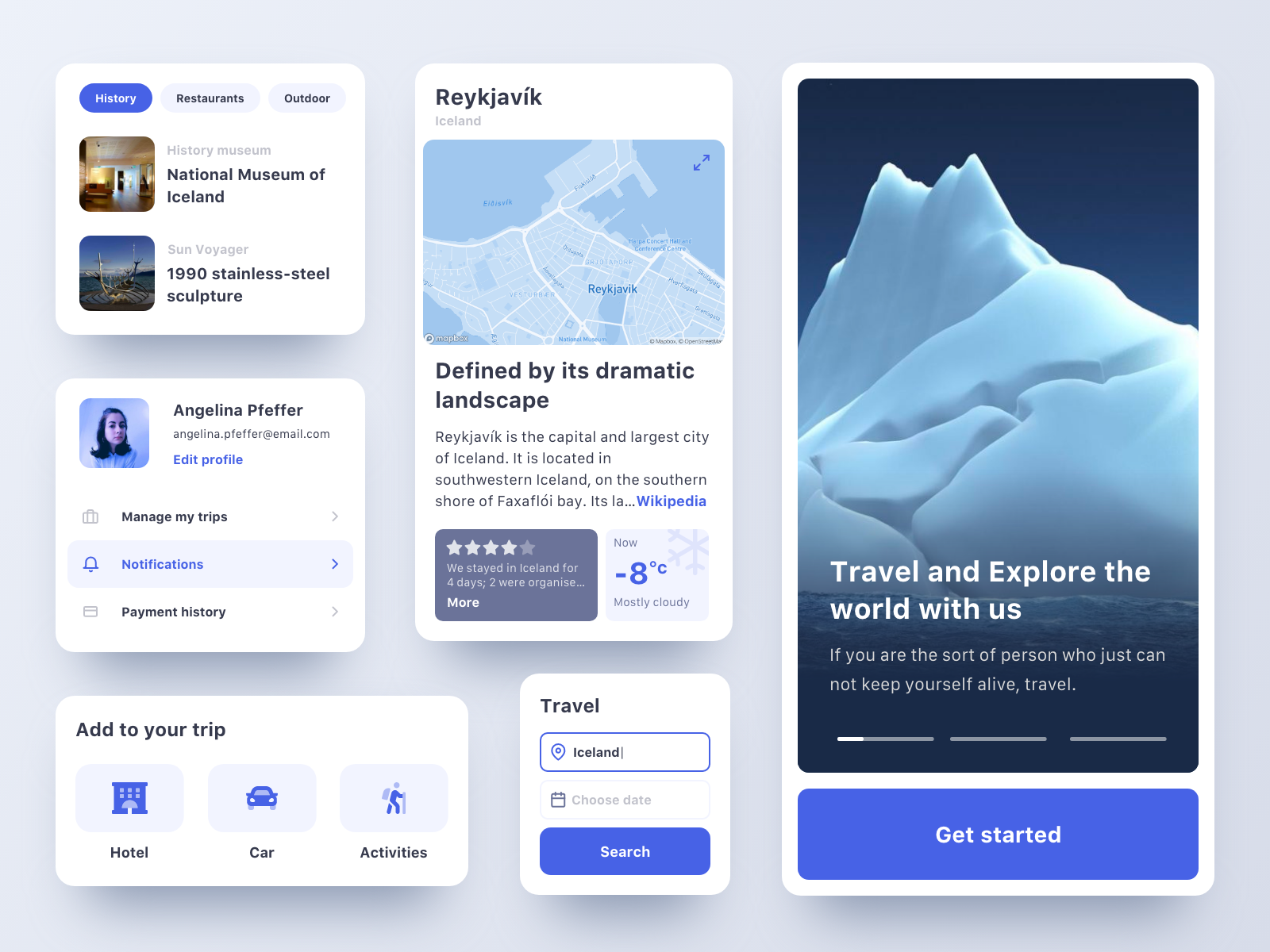 Travel organizer web app components
