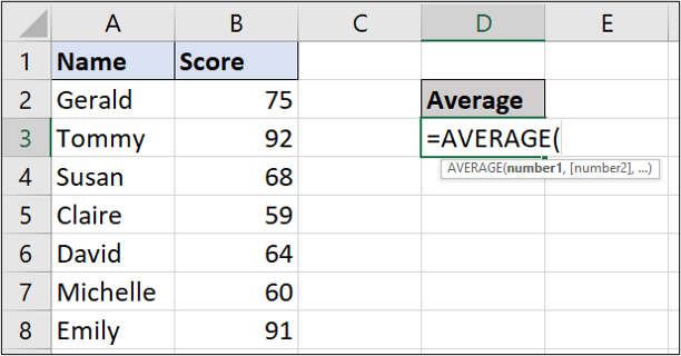A simple Excel spreadsheet containing data for student names and test scores. In this instance, the user has typed out the average function manually in the relevant cell