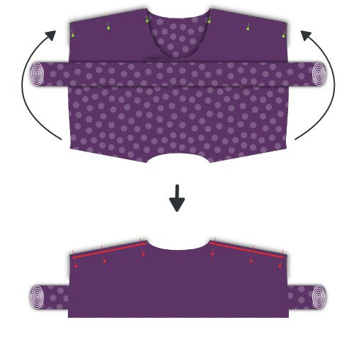 Pin the fronts to the outside yoke