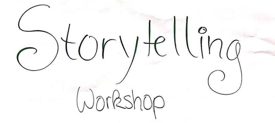 Willkommens-Schriftzug von der Workshop-Tafel: Storytelling Workshop