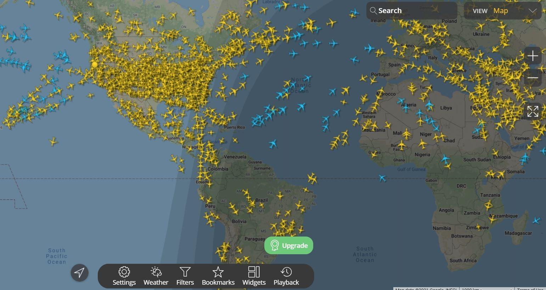 Flight radar map.