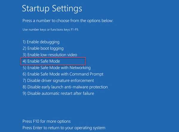 Enable safe mode option Windows