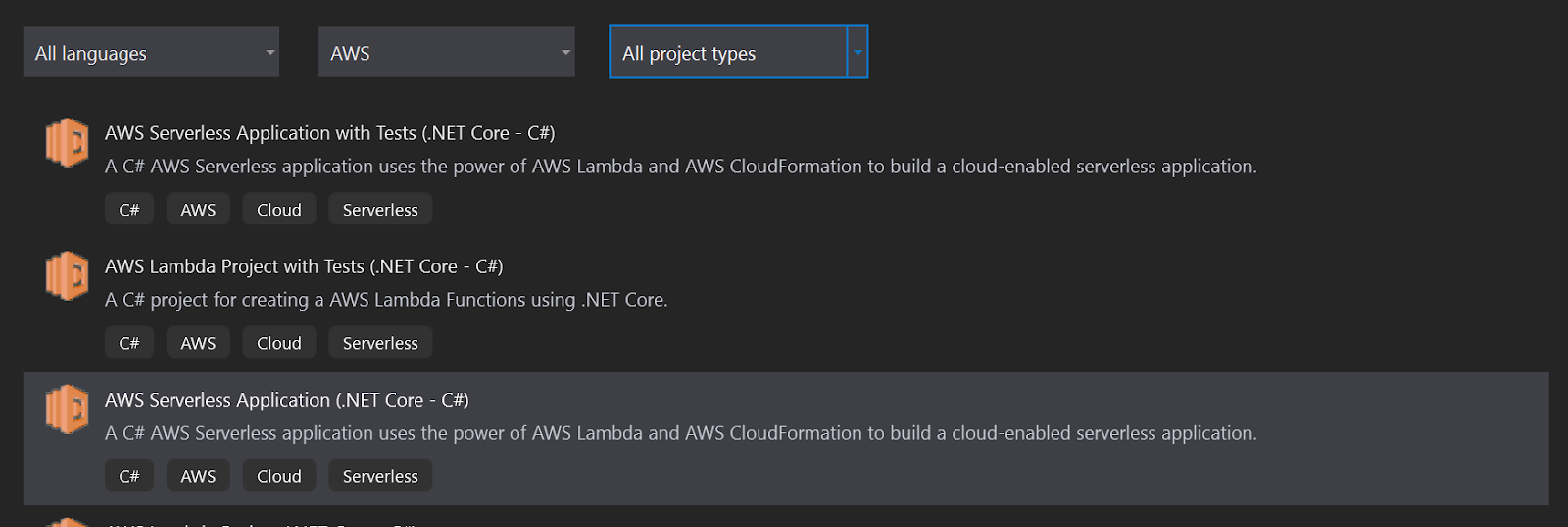 AWS create project