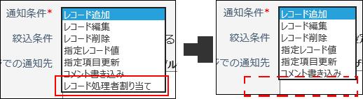 レコード処理者割り当ての通知条件が選択できなくなってしまった画像