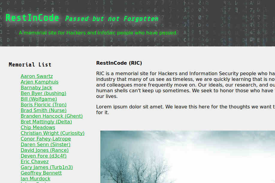 cropped screenshot of Rest In Code homepage