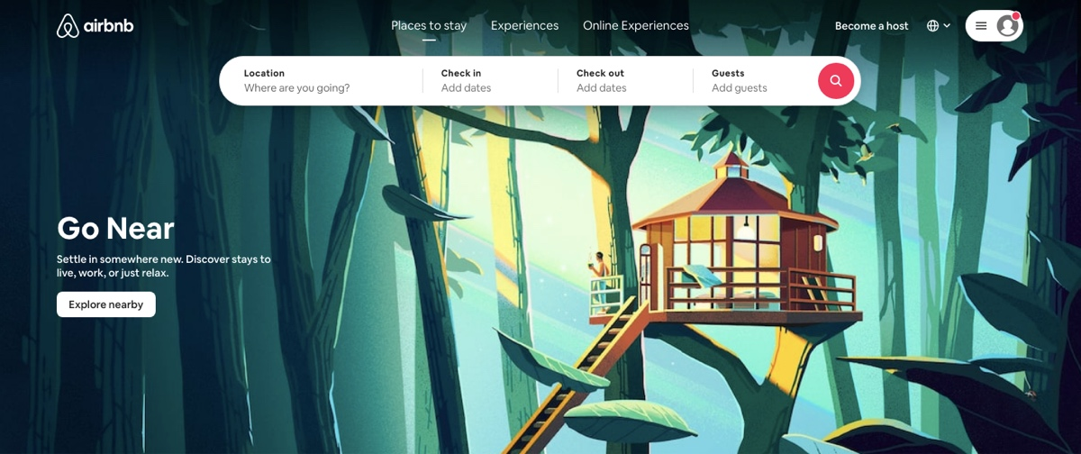 Screengrab of the Airbnb landing page, with imagery and microcopy focused on localized travel