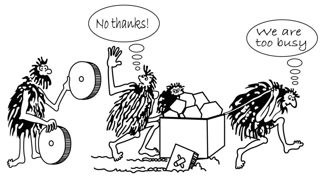 Cartoon of caveman selling a wheel.