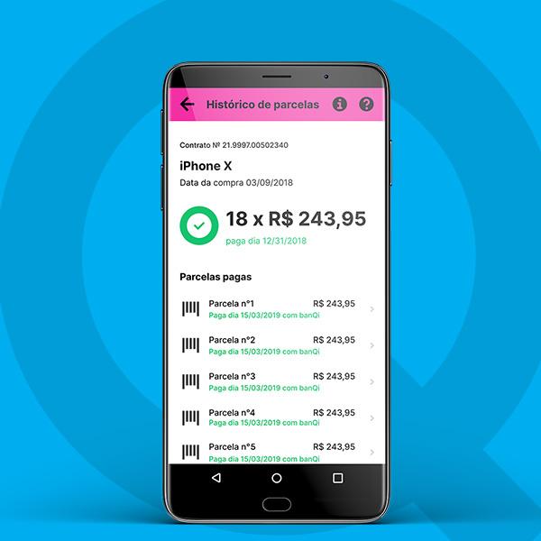 No banQi, você consegue ver todas as datas de pagamento do seu Carnê Casas Bahia e pagar diretamente no aplicativo.