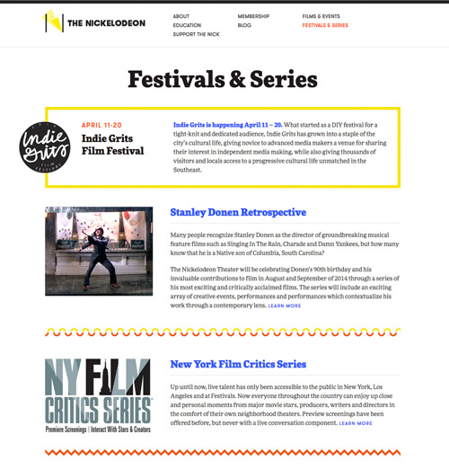 Screenshot of Festivals and Events page