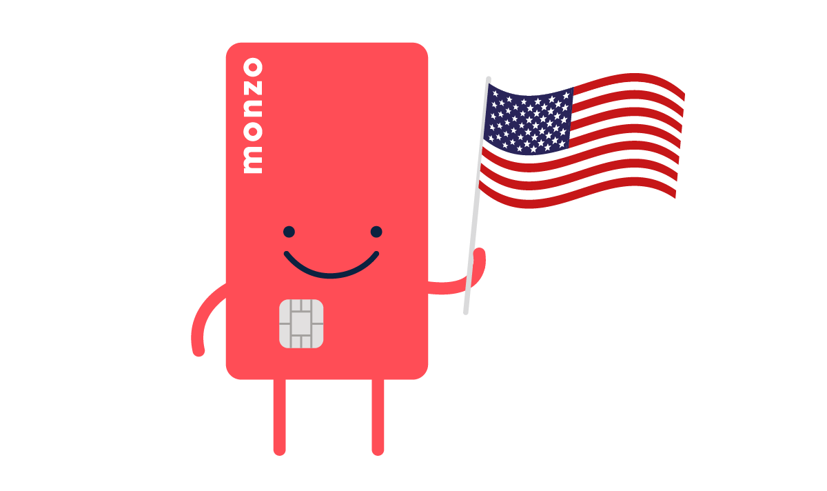 Illustration of hot chip holding an american flag
