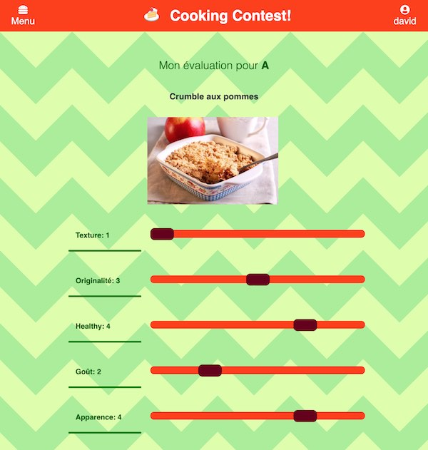Cooking-contest evaluation screen