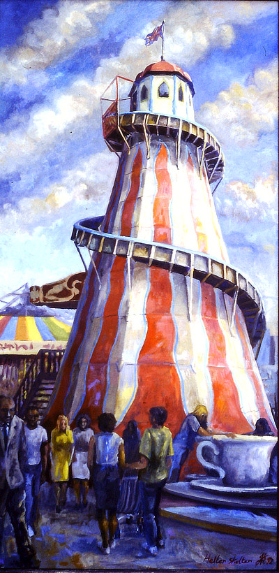 Painting of the Helter Skelter at Folkestone Rotunda Amusement Park