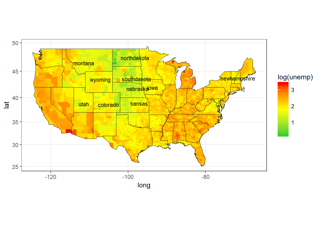 USA Unemployment Rates (Log) by County, 2009