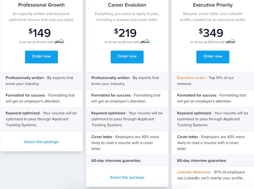 topresume.com prices
