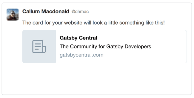 Gatsby Central twitter card