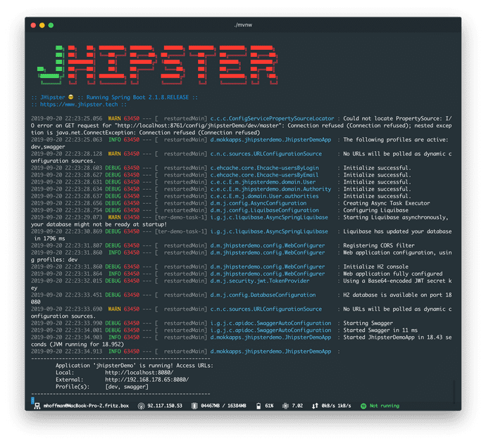 JHipster Backend Running