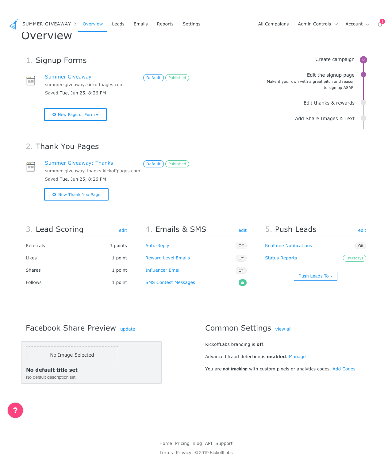 KickoffLabs dashboard design