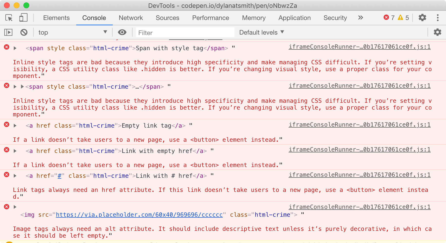 Chrome's developer tools console displaying errors for common accessibility and semantic HTML issues