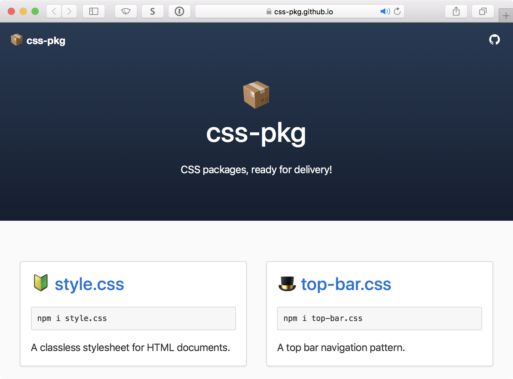 Screenshot of css-pkg website