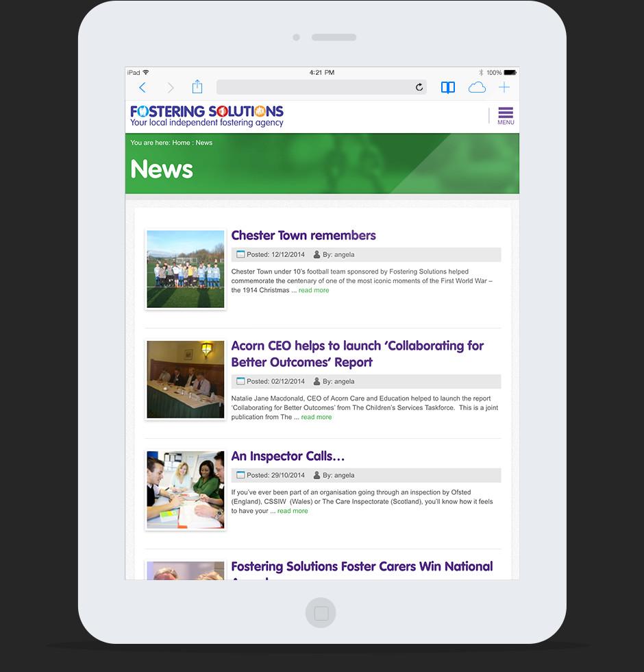 Fostering Solutions Website Rebrand