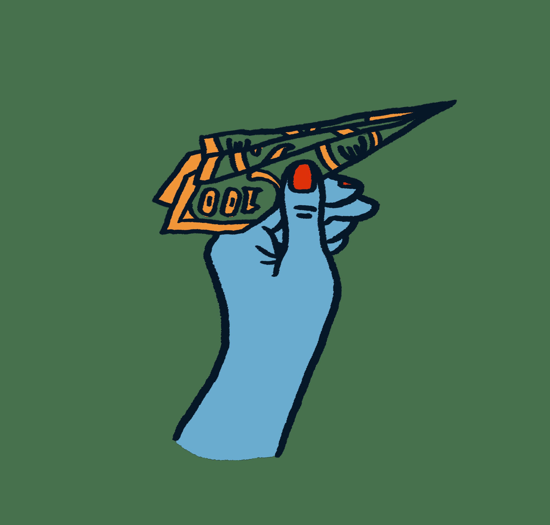 Eine Hand die einen Papierflieger hält