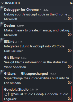 installed extensions list
