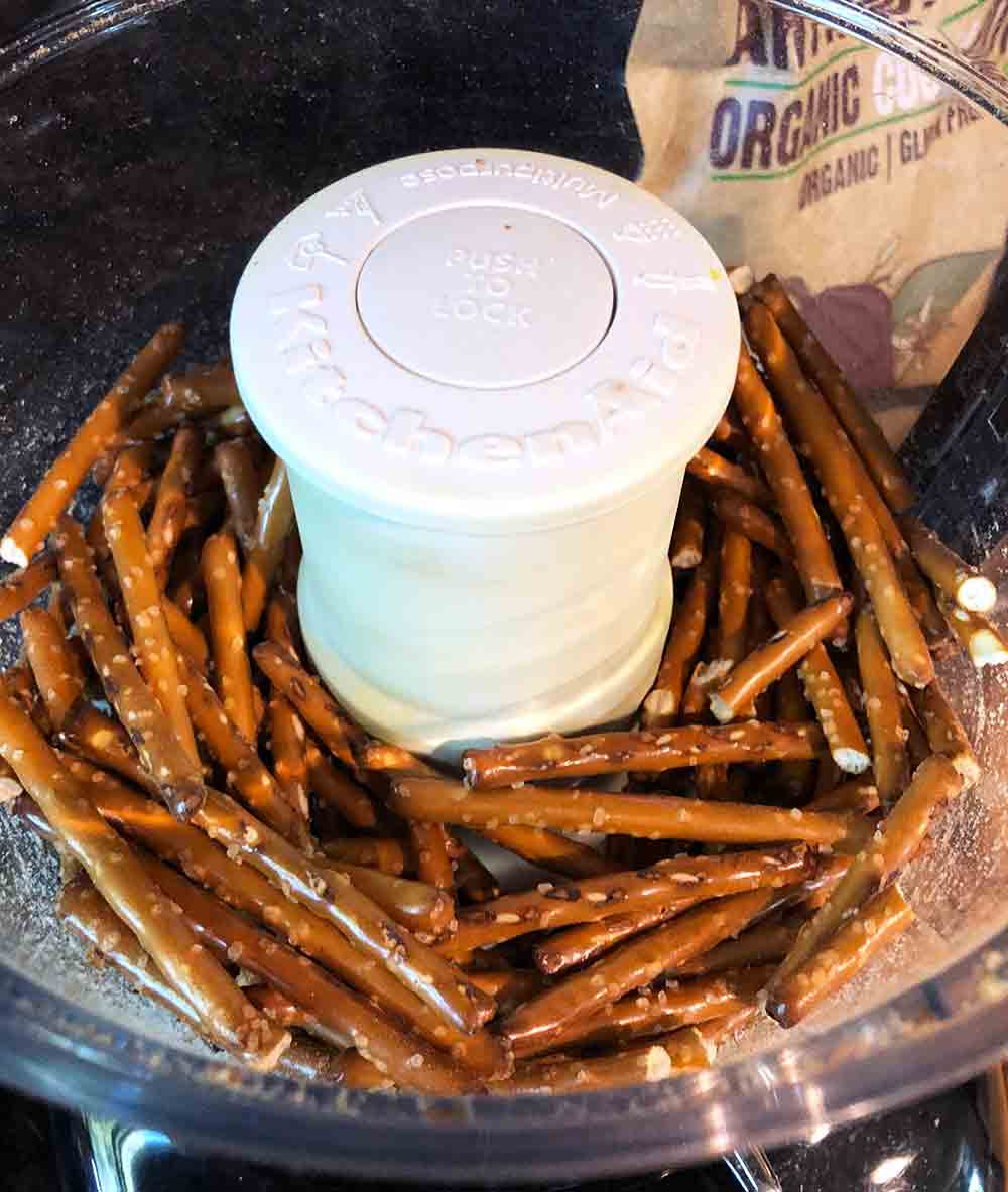 Processing the pretzels for the Vegan Crispy Pretzel Chicken Fries