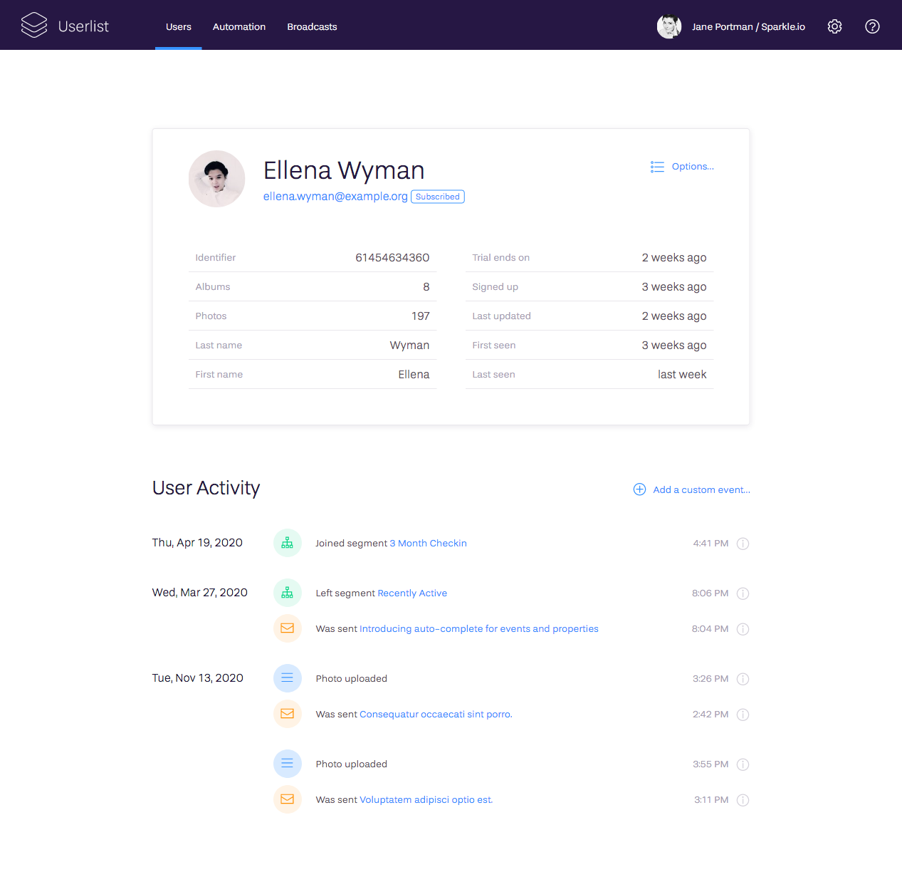 Explore individual user profiles