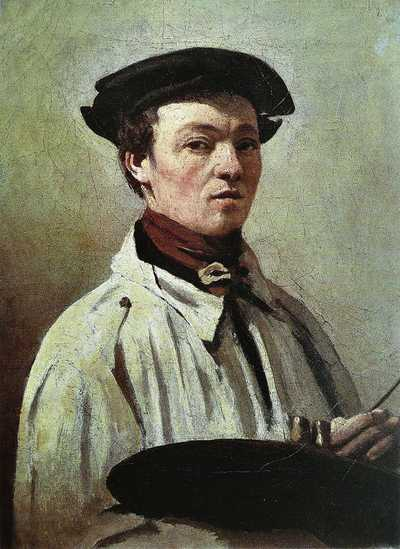 Self-portrait of Jean-Baptiste Camille Corot with a palette in hand